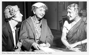Elise Ottesen-Jensen, Margaret Sanger and Dhanvanthi Rama Rau 1953