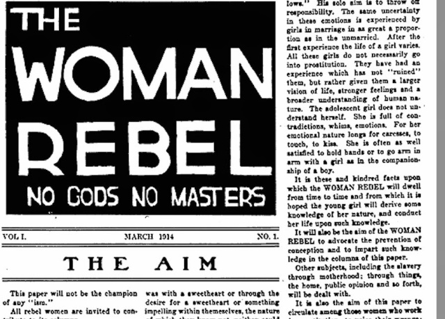 'The Woman Rebel' Volume I, Page 1