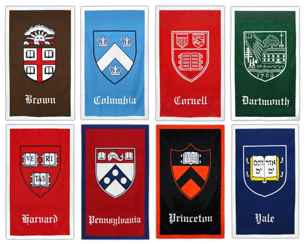 Ivy League university crests
