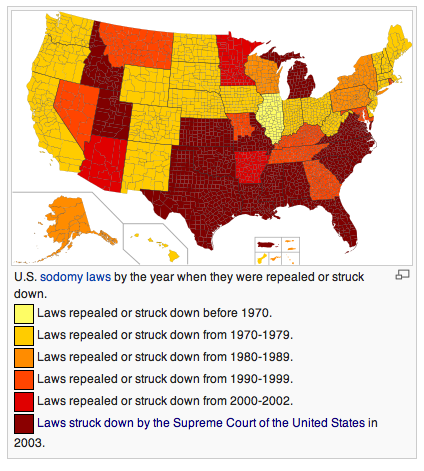 US Sodomy Laws by Year of Repeal/Struck Down