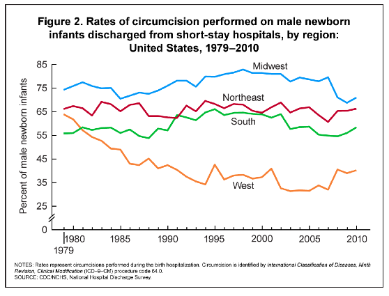 US Regional Circumcision Rates (via CDC.gov)