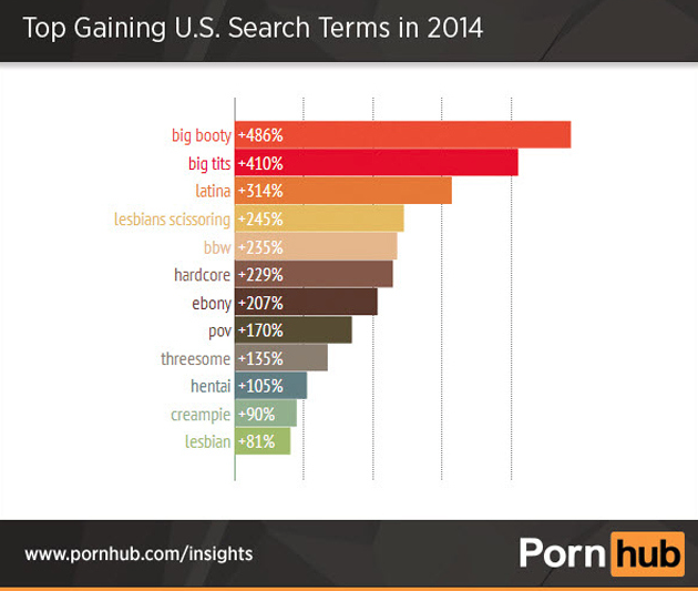 PornHub Top Gaining U.S. Search Terms in 2014 (Mic)