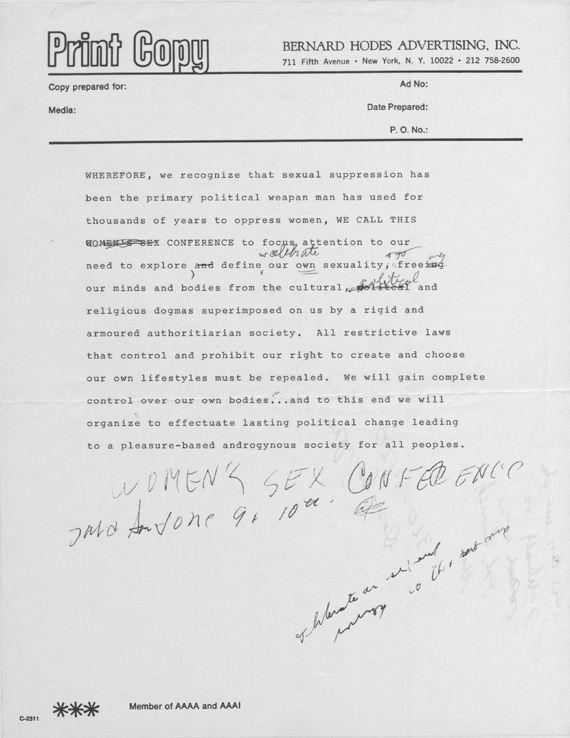 Dell Williams' draft statement of purpose for the NOW Women's Sexuality Conference, 1973 (Cornell Library)