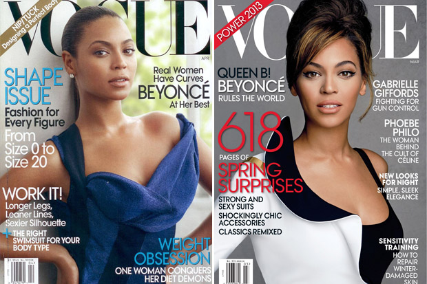 Beyoncé's 'Vogue' covers, April 2009 and March 2013 (Celebuzz)