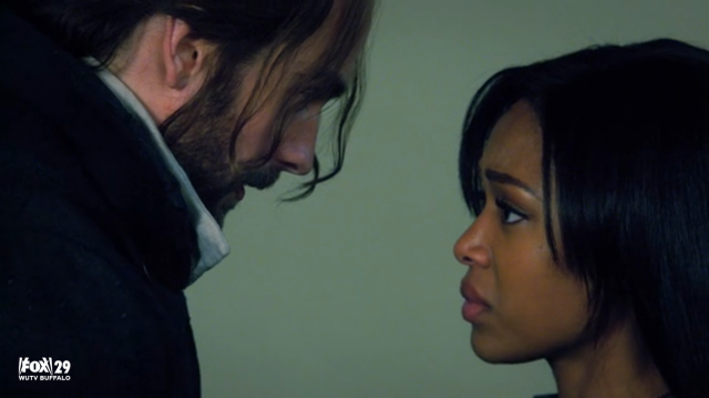 Ichabod Crane (Tom Mison) and Abbie Mills (Nicole Beharie) in 'Sleepy Hollow' (The Chiefly)