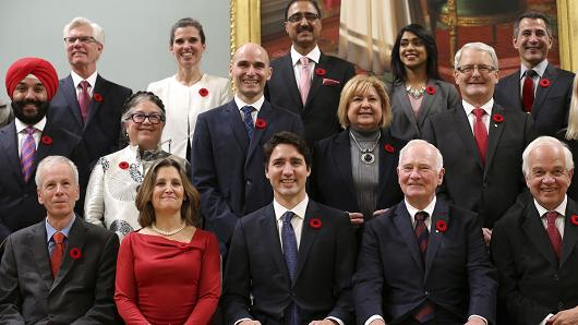 Canadian Prime Minister Justin Trudeau and his cabinet (CNBC)