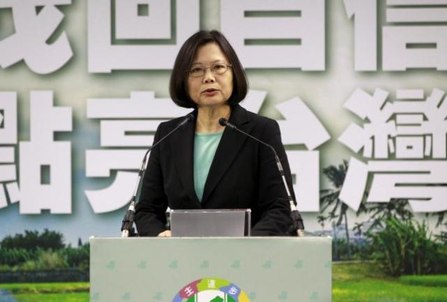 Taiwan's main opposition Democratic Progressive Party (DPP) Chairperson Tsai Ing-wen gives a speech during a news conference in Taipei