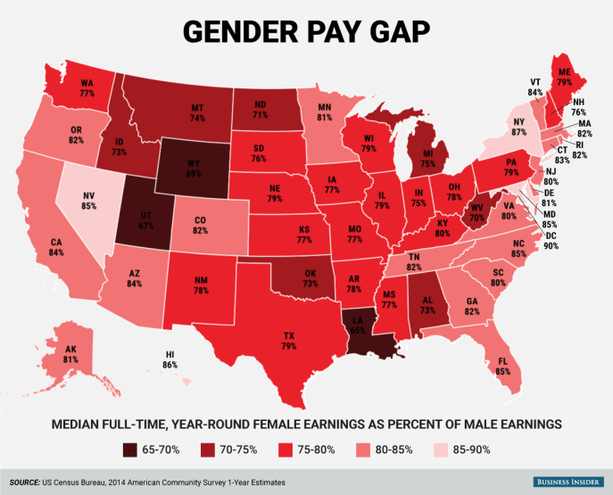 Gender Pay Gap by State (Business Insider)